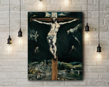 El Greco: Christ Crucified with Toledo in the Background. Fine Art Canvas.